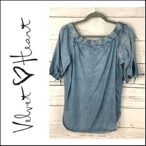 *3/$18*Velvet Heart Chambray Off Shoulder Top